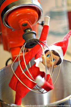 Dozens of Great The Elf on the Shelf Ideas found on Frugal Coupon Living. Elf is mixed up in the Kitchenaid Mixer. Place with cookies or ingredients to make