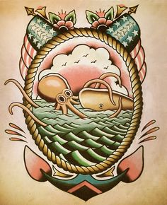 Nautical Octopus Flash by ParlorTattooPrints on Etsy, $20.00