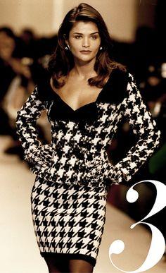 Helena Christensen wears Oscar de la Renta in 1992 on the runway.