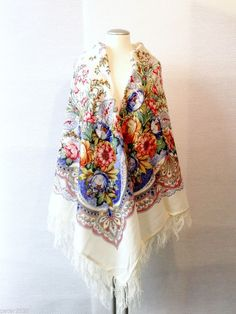 """Beautiful Original Pavlovo Posad (Pavloposad) Russian shawl """"Joy"""" with woollen fringes Material: 100% wool New item with tags. Size:  57 1/2 Inch x 57 1/2 Inch / 146 cm x 146 cm (measured without fringes) Main colours - white and blue. Elaborate designer's shawl, created by the artist Valeria Fadeeva."""