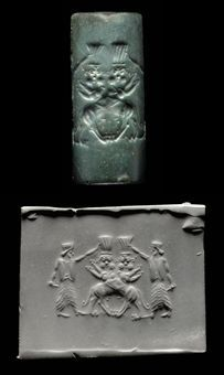AN ACHAEMENID DARK GREEN STONE CYLINDER SEAL CIRCA 5TH-4TH CENTURY B.C. With a contest scene of two crossed Bes-headed felines wearing tal...