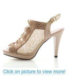 Brand New Fashion Lace Grenadine Rhinestone Womens Platform High Heels Peep Toe Sandals Shoes