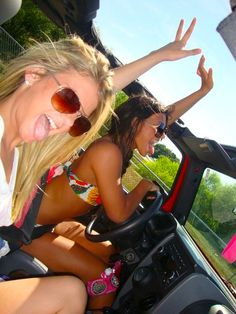 road trip with the Girls, although I am not sure I would drive down the road in my jeep with the top down and with my mouth open.  bugs, need I say more?