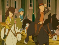 Professor's on a pony, Emmy's on a pony, Luke's on a donkey who's face is covered by Layton's pony's tail...Something's wrong.