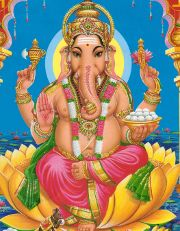 Ganesh  God of the intellect and the remover of obstacles    Vehicle: mouse    son of Shiva & Parvati    has an elephant's head