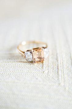 peachy nude gemstone engagment ring flanked by diamonds @myweddingdotcom