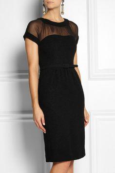 Little Black Boucle Wool and Chiffon Dress