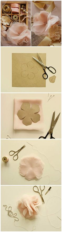 DIY gorgeous chiffon flowers DIY ● Tutorial ● Chiffon and Tulle flowers. Can't wait to try these. I would us a broach or button for middle of the flower. Tulle Flowers, Chiffon Flowers, Felt Flowers, Diy Flowers, Fabric Flowers, Paper Flowers, Cloth Flowers, Flower Diy, Diy Embroidery Flowers