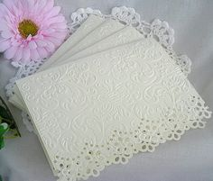 Card ideas - beautiful Vintage Lace Doily, Embossed Note Cards, these should be easy to make, Embossed Cards and Envelopes Vintage Cards, Vintage Lace, Sympathy Cards, Greeting Cards, Martha Stewart, Anna Griffin Cards, Envelopes, Embossed Cards, Card Making Techniques