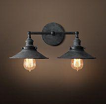 20th C Factory Filament Metal Double Sconce Farmhouse Wall Lighting Bathroom Light Fixtures