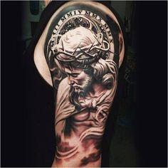 Jesus Tattoo On Man Left Half Sleeve by Daniel Rocha Half Sleeve Tattoos For Guys, Cool Tattoos For Guys, Trendy Tattoos, New Tattoos, Feminine Tattoos, Tatoos, Religious Tattoos For Men, Religious Tattoo Sleeves, Tattoo Sleeve Designs