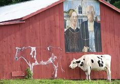 Red Barn...with a painted mural...and a cow.