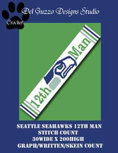 (4) Name: 'Crocheting : Seattle Seahawks Scarf 30x200