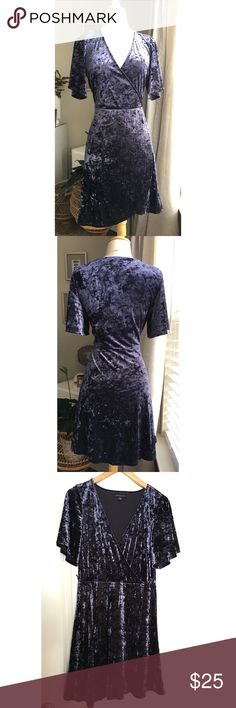 AMERICAN EAGLE blue crushed velvet wrap dress, L AMERICAN EAGLE blue crushed velvet wrap dress Size Large  Excellent condition.  Like new!  No stains or damages.  Fun and flirty!  Makes a great party dress.   **Accessories, shoes and handbags also for sale in my closet.   Make an outfit, make a bundle and save 💵!! American Eagle Outfitters Dresses Mini