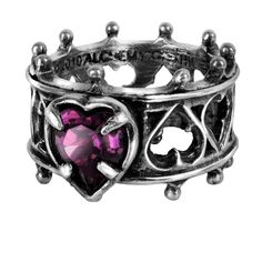 Gothic Jewelry Rings Elizabethan Crown Queen Lord Dudley's Sign Of Devotion Deep Purple Ring - Lord dudley's lost sign of devotion.This beautiful, crown style ring, has a deep purple swarovski crystal Gothic Wedding Rings, Gothic Engagement Ring, Gothic Rings, Gothic Necklaces, Alchemy, Lord, Heart Jewelry, Heart Ring, Jewelry Rings