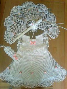 Image Article – Page 106538347422621206 Crochet Dress Girl, Crochet Baby Dress Pattern, Baby Girl Crochet, Crochet For Kids, Crochet Patterns, Sc Crochet, Baby Sewing Projects, Crochet Projects, Ribbon Design