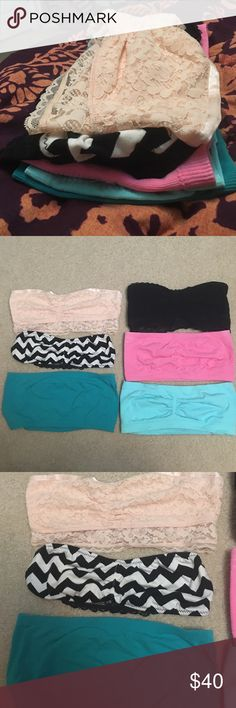 Bandeau bundle. 6 like new bandeaus. I haven't worn most of them. 3 lace and 3 plain. 2 American eagle (SOLD) and 6 boutique. They all costed about 20 dollars a piece. This is a great deal! (The nude and black lace are sold!) American Eagle Outfitters Intimates & Sleepwear Bandeaus