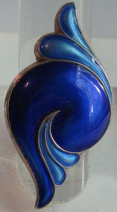 David Andersen Norway RARE Vintage Sterling Silver Shades of Blue Enamel Ring