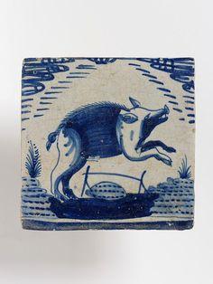 Place of origin: Netherlands (made) Date: ca. (made) Artist/Maker: Unknown (production) Materials and Techniques: Tin-glaze earthenware, painted Antique Tiles, Vintage Tile, Vintage Ceramic, Delft Tiles, Blue Tiles, Mosaic Tiles, Porcelain Ceramics, White Ceramics, Willow Pattern