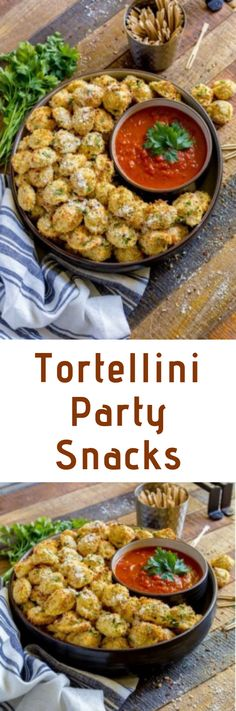 CHEESE TORTELLINI PARTY SNACKS are one of the best finger food ideas for game day, movie nights and festive parties. These scrumptious horderves are easy to make and serve. Include these baked tortellini bites among this year's holiday appetizers. It's destined to become one of your favorite tortellini recipes! #tortellini #tortellinirecipes #easyappetizers  #partysnacks #appetizers  #partyideas