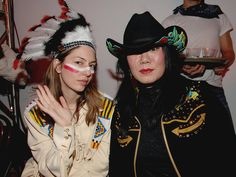 Sofia Coppola and Anna Sui at a Marc Jacobs Christmas party, 2005