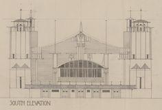 Colour photograph of design for S. elevation of Grand Hall for 1901 Glasgow International Exhibition Mackintosh Design, Art Nouveau Poster, Charles Rennie Mackintosh, Glasgow School, Architectural Sketches, Building Design, Architects, Taj Mahal, Pie