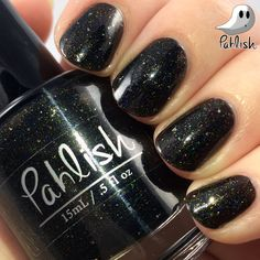"""Pahlish - Bespoke Holo-ween Preorder - """"One Billion Day Funeral"""". This bespoke batch of polish is a concept polish for our upcoming """"Happy Holo-ween"""" collection! The preorder window starts Friday the 19th at 7pm central and will last for 24 hours! -it is a deep onyx jelly with platinum flakes and a scattered holographic finish! The """"Happy Holo-ween"""" collection will be available this October!"""