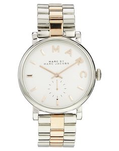 Marc By Marc Jacobs Baker Silver & Rose Gold Two Tone Watch