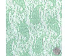 Seafoam Light French Paisley Pattern Lace Fabric
