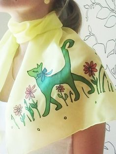 Cat yellow green summer hand painted modern silk scarf batik summer scarf flower for her teens gift idea. via Etsy.