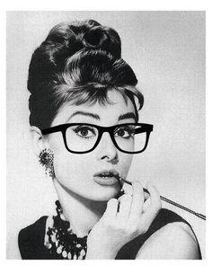 Audrey Hepburn in glasses print $10