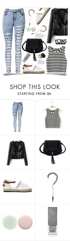"""""""Black & white, yoins!"""" by samra-bv ❤ liked on Polyvore featuring Nails Inc., Burberry and NARS Cosmetics"""