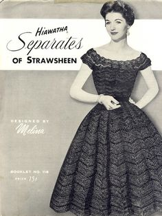 Vintage Crochet Pattern Hiawatha Skirt and Blouse 1950s Fashion Dresses, Vintage Style Dresses, Vintage Skirt, Mode Crochet, Frock And Frill, Vintage Crochet Patterns, Bolero, Lace Outfit, Poncho