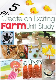 Learn about farms and farm animals with these exciting activities for a farm unit study! Science, math, STEM, literacy art and more!!  via @lifeovercs