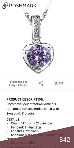 COMING SOON! Swarovski Purple Heart Necklace Lovely purple Swarovski crystal heart necklace. 18 in long with 2 in extender. Silver plated chain with 1 in pendant. So romantic. A perfect gift for your valentine or yourself more pics to come... Swarovski Jewelry Necklaces