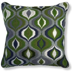 Bargello pillows, hand embroidered using long stitches to form elaborate geometric patterns  #coloroftheyear