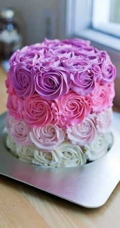 Roses of Different Colors - Wedding Cake
