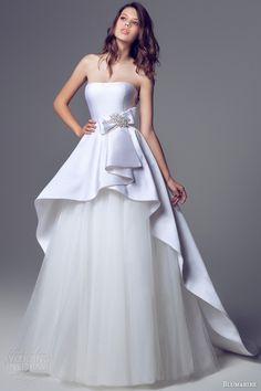 Blumarine #WeddingDress 2013/2014 - Strapless Ball Gown with Tulle Skirt and Satin Over-skirt Peplum with a Bow