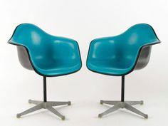 2 Eames Turquoise Alexander Girard Black Fiberglass Herman Miller Chair Swivel   eBay