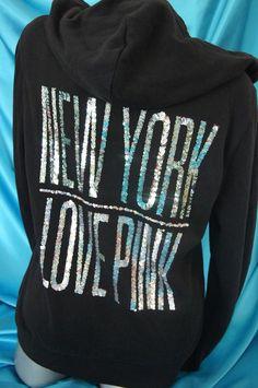 LARGE~VICTORIA'S SECRET PINK SEQUIN BLING NEW YORK HOODIE SWEATSHIRT~ NWT #VictoriasSecret #Hoodie