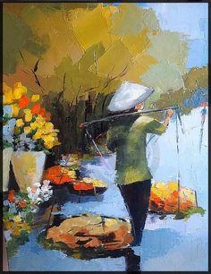 marché aux fleurs - Peinture ©2014 par Laurence Clerembaux -                                        Expressionnisme, Toile