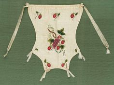 18th-19th century, America - Bag - Cotton ground with silk embroidery