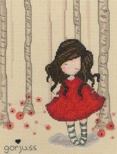 Gorjuss Poppy Wood Cross Stitch Kit £23.00 | Past Impressions | Bothy Threads