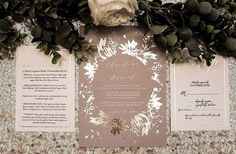 Thank you for this feature of my 'Pressed Flowers' in the middle! This Taupe and gold foil combo is just 😍 ・・・ My goal is to always leave a touch of ✨ Different Wedding Ideas, Wedding Stationery Inspiration, Gold Wedding Invitations, Real Weddings, Gold Weddings, Gold Foil, Taupe, Middle, Instagram Posts