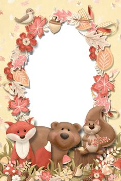 "Photo from album ""Скрап-странички"" on Yandex. Autumn Animals, Woodland Animals, Photo Frames For Kids, Disney Frames, Foto Frame, Vintage Tea Parties, Page Borders Design, Planner Dividers, Framed Wallpaper"