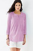crinkled-cotton pleated top | J.Jill