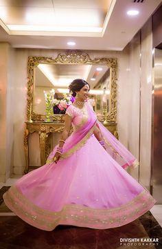 Light Lehenga - Light Pink Lehenga with Gold Border on Dupatta and Lehenga | WedMeGood #wedmegood #indianbride #indianwedding #bridal #twirlingbride #pinklehenga #lehenga #bridal