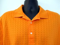 Lge Mens Jack Nicklaus Orange Golf Polo Shirt Legacy 18 Cross Weave 3 Button #JackNicklaus #PoloRugby