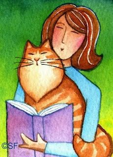 Susan Faye's World of Whimsy: LIBRARY CAT No. Magnet (no text): This sturdy magnet features my mini watercolor painting of 2 book lovers sharing a special moment. Great gift idea for your favorite Cat Lady, Librarian, Teacher, or Student! Cute Cats And Dogs, Cool Cats, Cats And Kittens, Dog Poster, Cat Posters, Domino Art, Cat People, Naive Art, Lectures