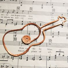 copper guitar bookmark - pinned by pin4etsy.com